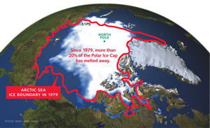 Map of polar ice melt back